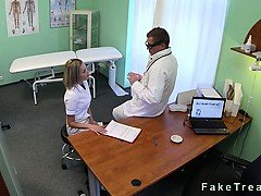 Hot nurse gets pussy licked...